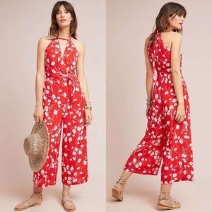 Anthropologie Maeve Andros Printed Red Jumpsuit
